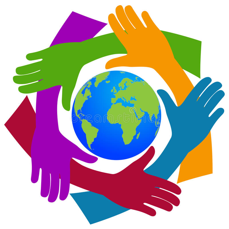 Mains autour du monde illustration libre de droits