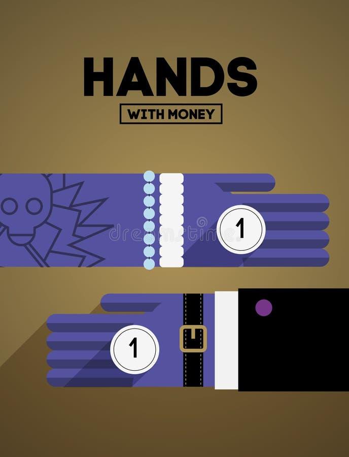 Mains avec de l'argent illustration de vecteur