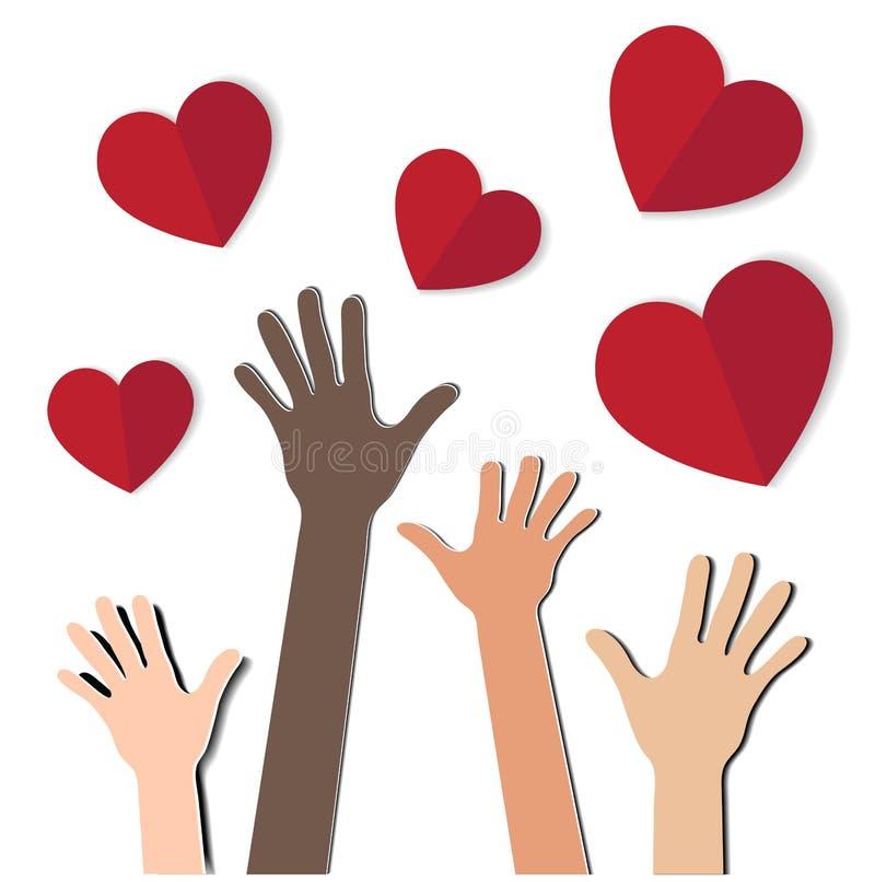 Mains avec des coeurs illustration stock