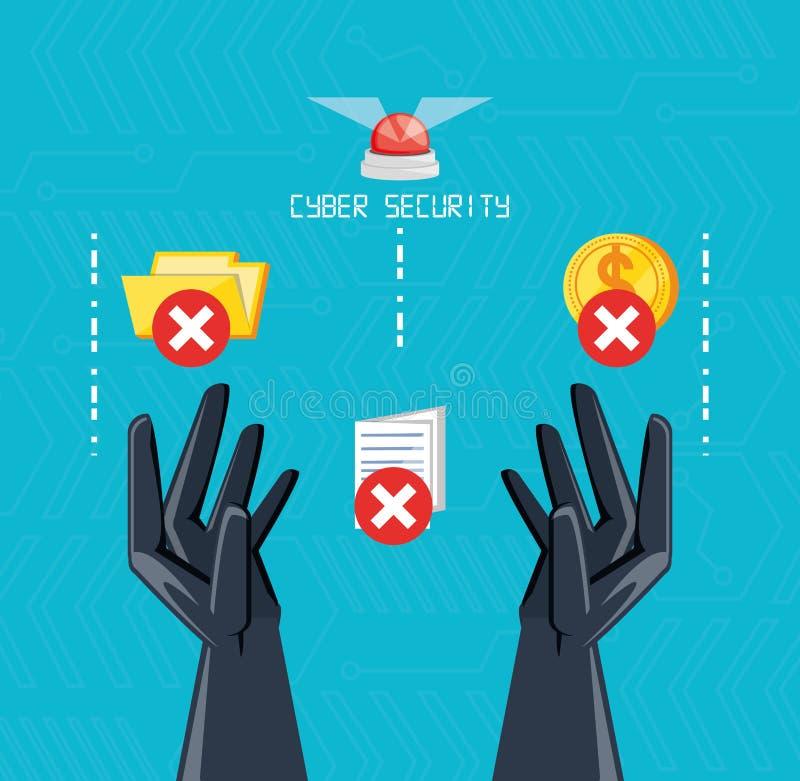 Mains avec des icônes de sécurité de cyber illustration de vecteur