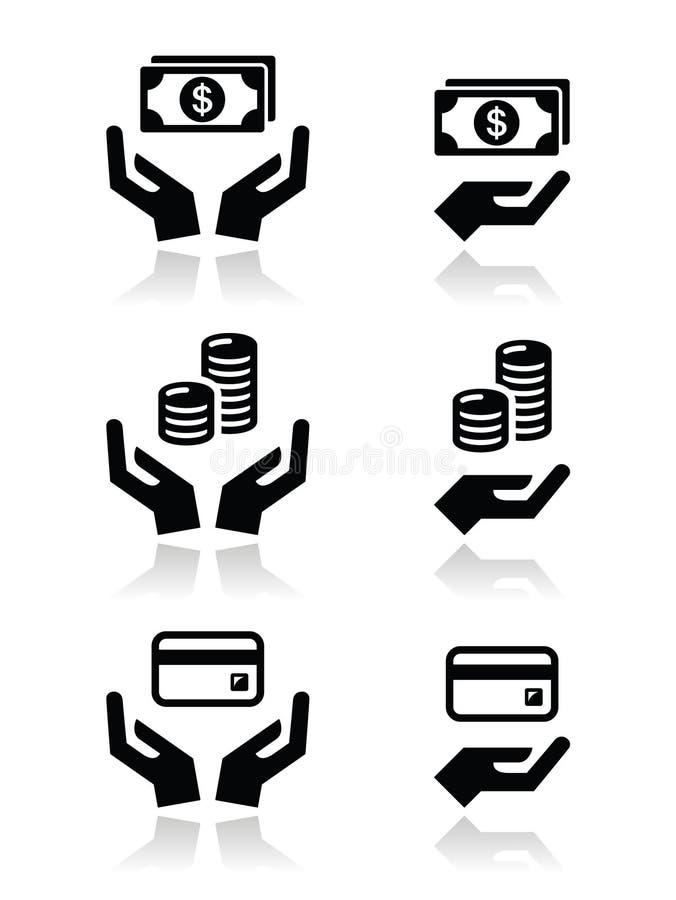 Mains avec des icônes d'argent réglées illustration libre de droits