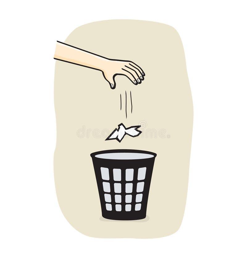 Mains avec des ordures illustration stock