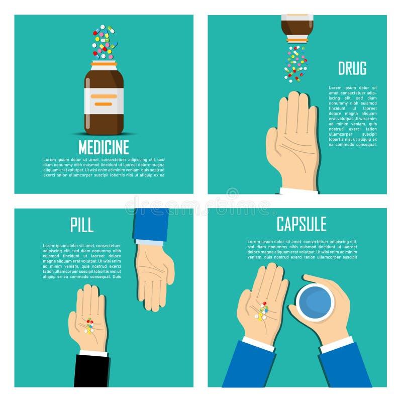 Mains avec des pilules dessus, renversant des pilules hors de la bouteille sur le fond Tas des pilules sur le fond illustration libre de droits