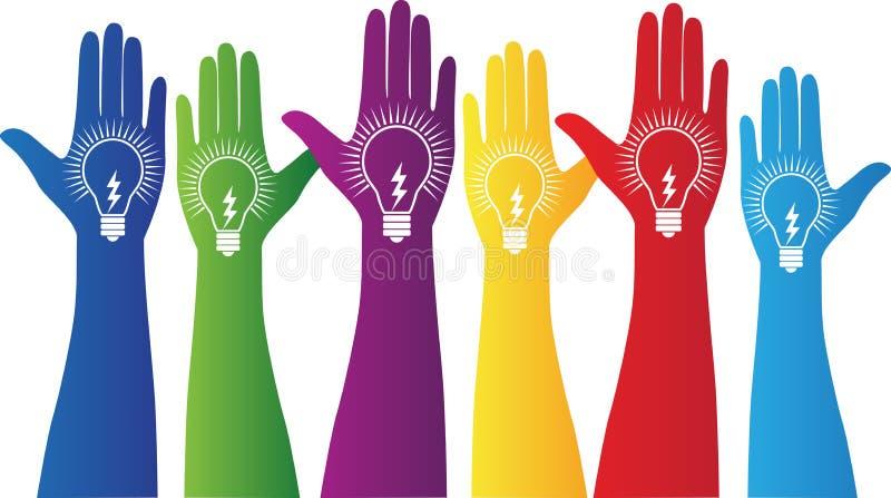 Mains avec l'ampoule illustration de vecteur