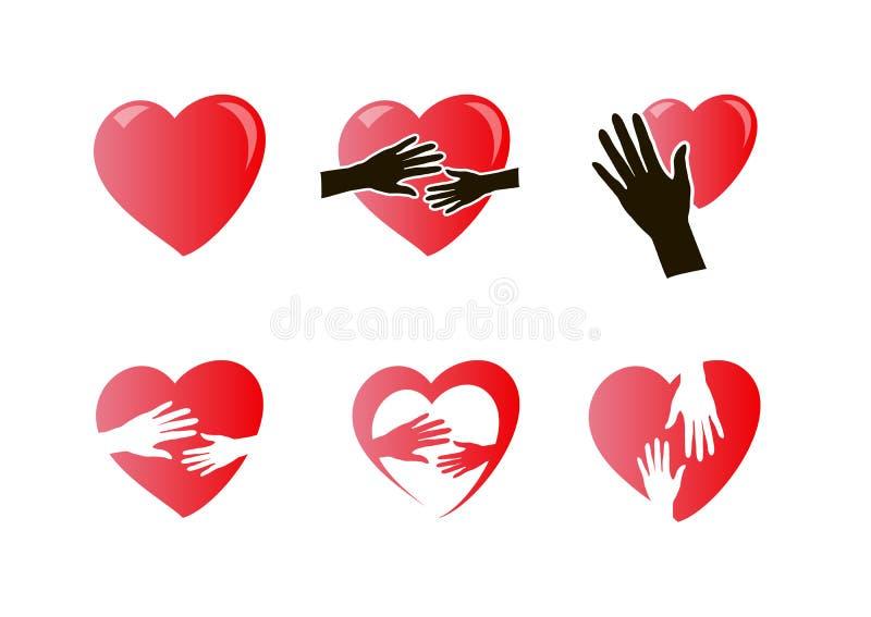 Mains avec l'ensemble d'icône de coeur illustration stock