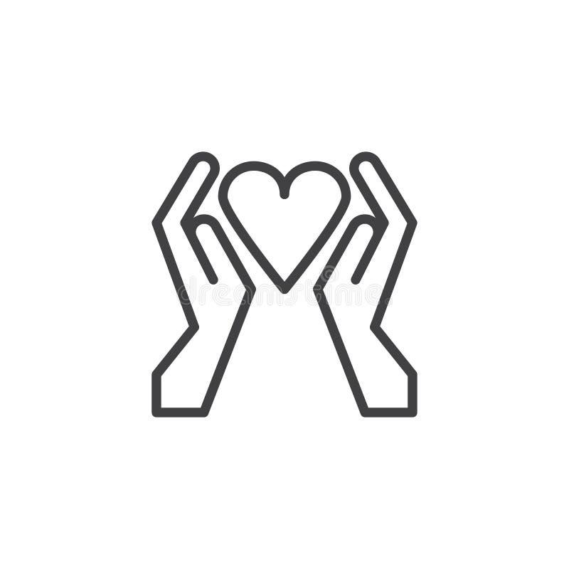 Mains avec l'icône d'ensemble de coeur illustration stock