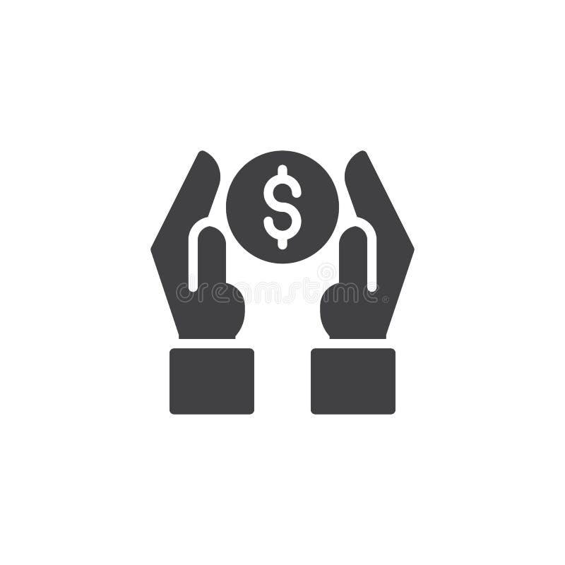 Mains avec l'icône de vecteur de pièce de monnaie du dollar illustration libre de droits