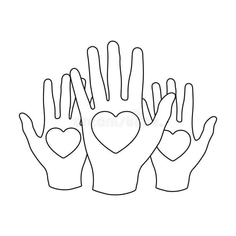 Mains avec l'icône de coeurs dans le style d'ensemble d'isolement sur le fond blanc illustration stock