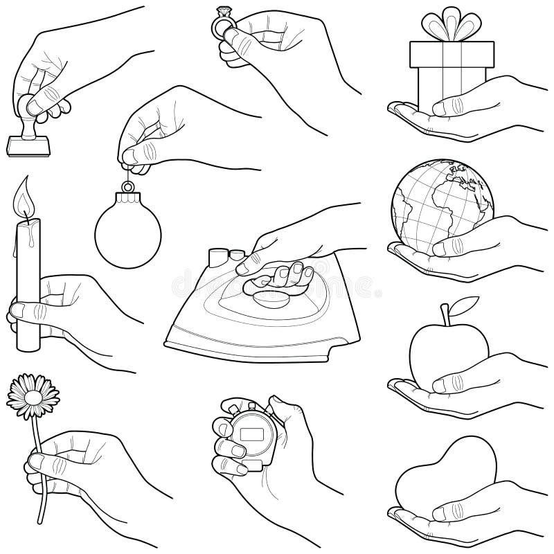 Mains avec l'objet illustration libre de droits