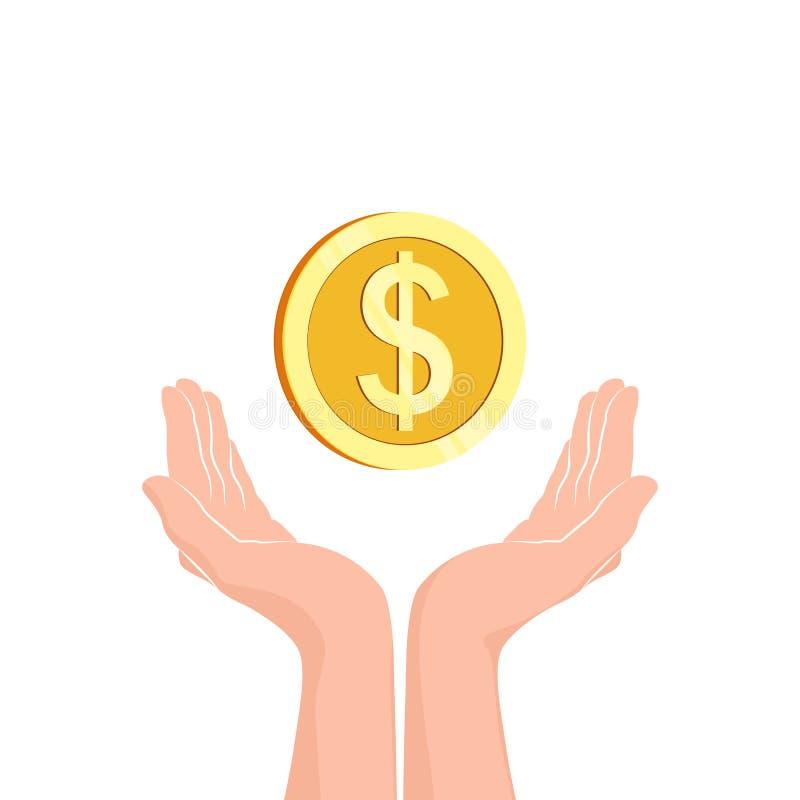 Mains avec la pièce de monnaie d'argent Icône plate Illustration de vecteur illustration de vecteur