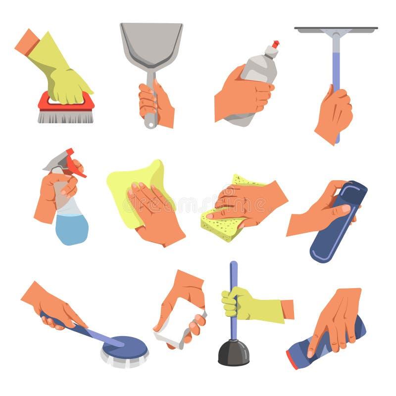 Mains avec les outils de nettoyage et moyens nettoyant et ménage de ménage illustration de vecteur