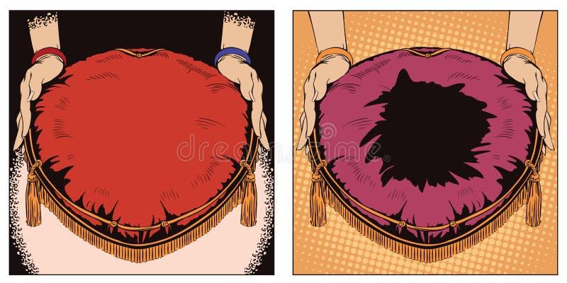 Mains avec un oreiller pour un cadeau Illustration dans le rétro style illustration stock