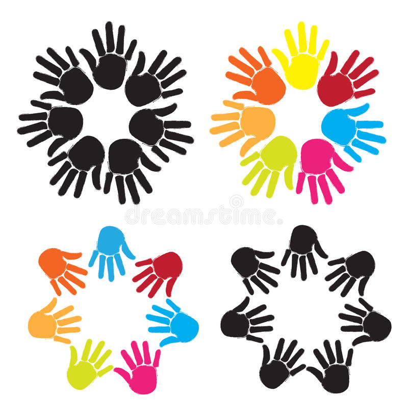 Mains colorées illustration de vecteur