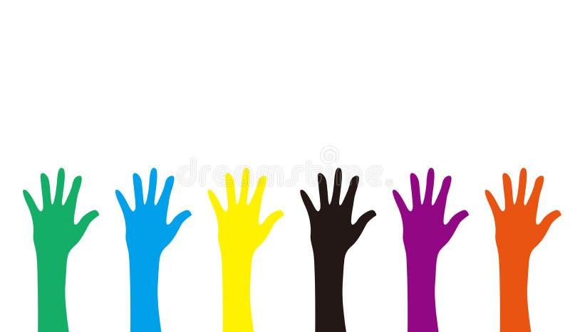 Mains colorées illustration stock
