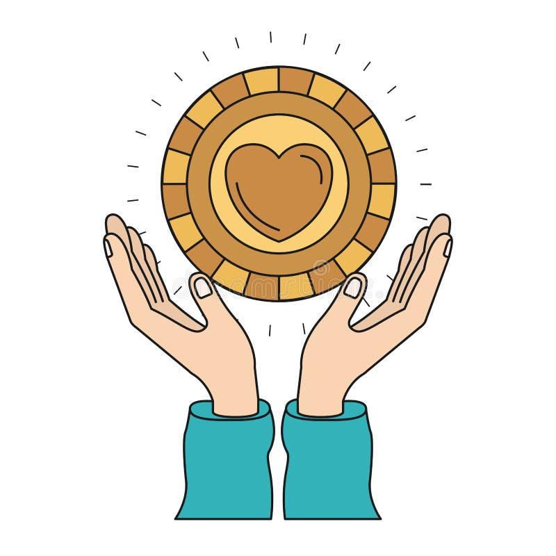 Mains colorées de silhouette avec flotter la pièce de monnaie d'or avec la forme de coeur à l'intérieur du symbole de charité illustration libre de droits