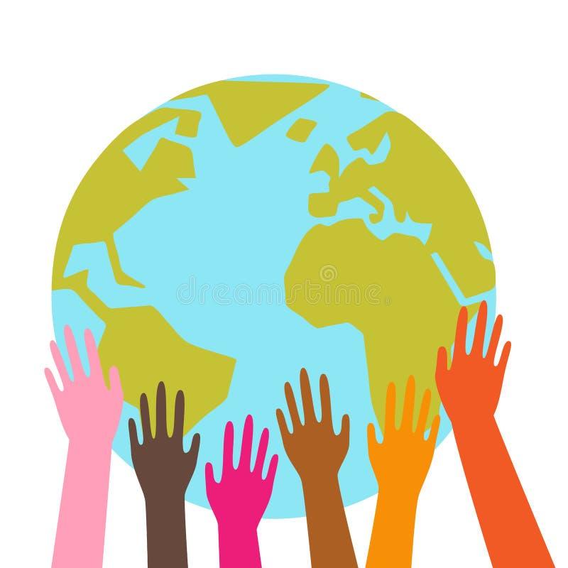 Mains colorées tenant la terre de planète, globe, différentes appartenances ethniques, graphique simple illustration stock