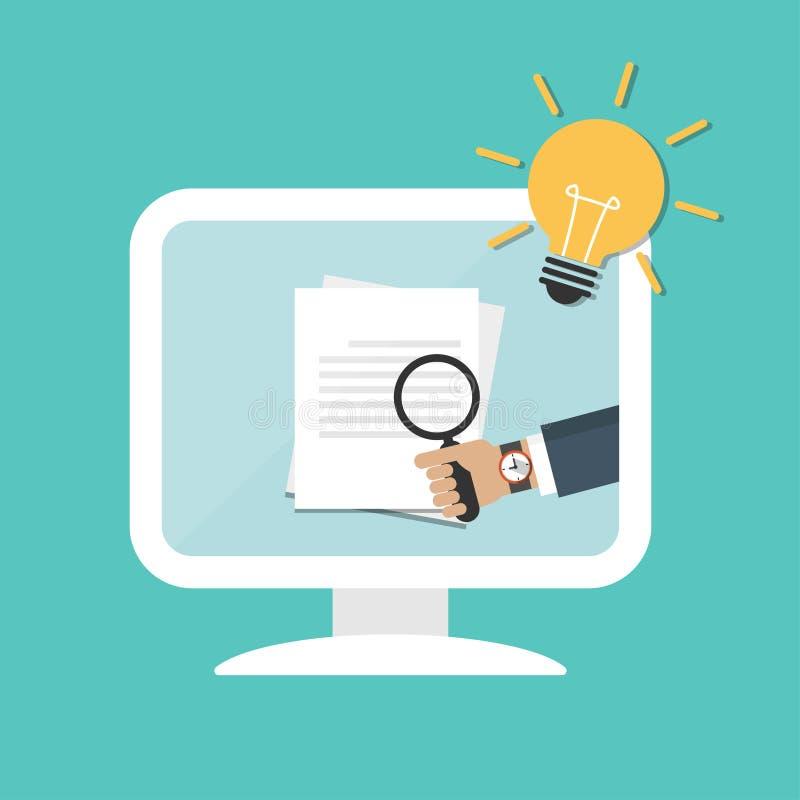 Mains d'homme d'affaires tenant la loupe au-dessus du document sur l'ordinateur Concept d'id?e avec l'ampoule illustration stock