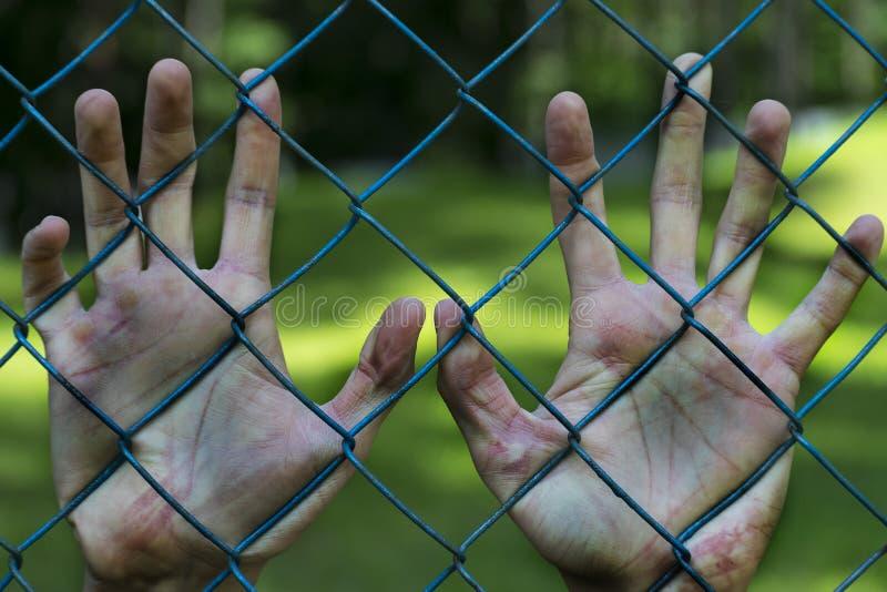 Mains d'homme en prison emprisonnement Pauvreté, souffrant images libres de droits