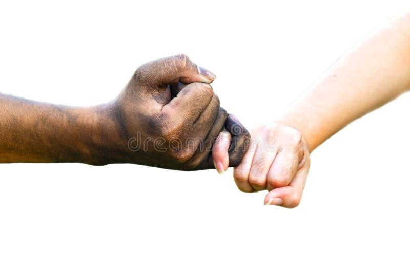 Mains d'homme et de femme touchant ainsi qu'une main sale et un propre sur le fond blanc pour le Saint Valentin de concept d'amou photos libres de droits