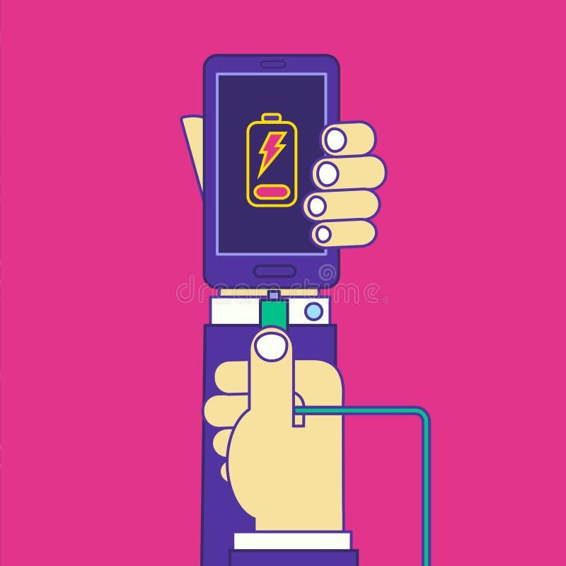 Mains d'homme tenant le câble de chargeur de smartphone de fil illustration de vecteur