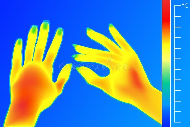 Mains d'humain d'imageur thermique L'image d'une femelle arme utilisant l'appareil-photo thermographique L'échelle est des degrés illustration stock