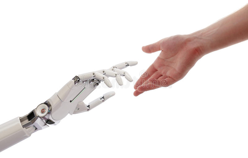 Mains d'humain et de robot atteignant l'illustration du concept 3d d'intelligence artificielle photos stock