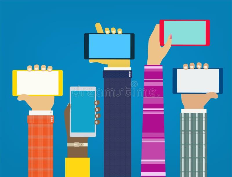 Mains d'interaction utilisant les apps mobiles illustration de vecteur