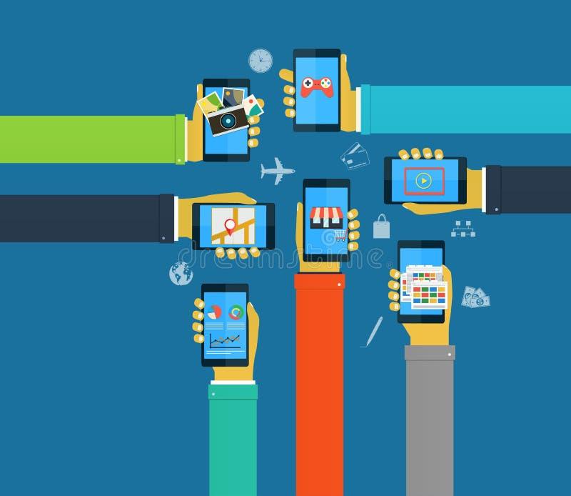 Mains d'interaction utilisant les apps mobiles, apps de mobile de concept illustration de vecteur