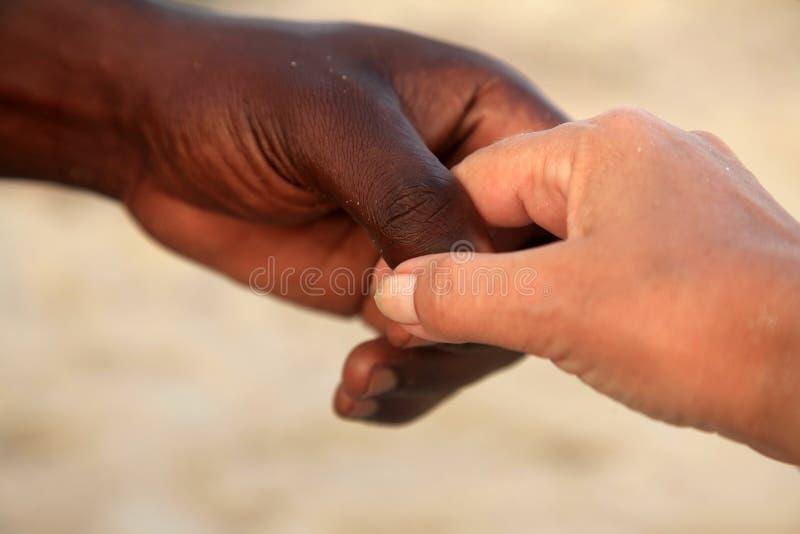 Mains d'une femme caucasienne et d'un homme africain photographie stock libre de droits