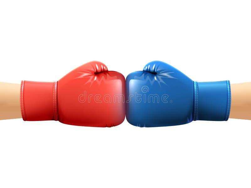 Mains dans des gants de boxe illustration libre de droits