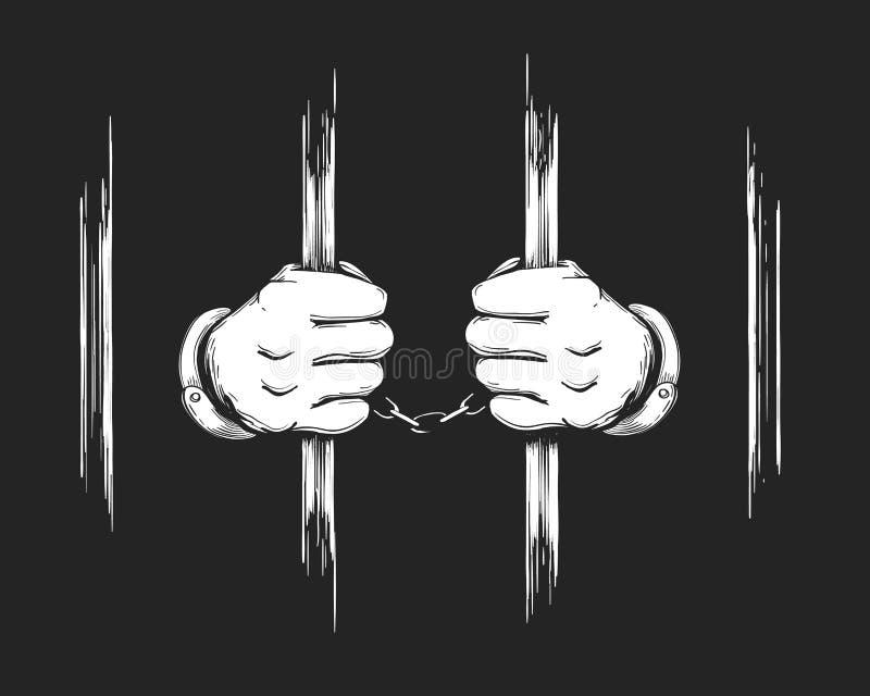 Mains dans des manchettes tenant des barres de prison illustration stock