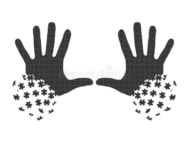 Mains dans des morceaux de puzzle images libres de droits