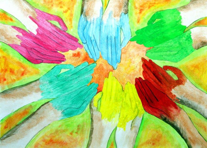 Mains dans différentes couleurs dans Holi, un art d'enfant illustration de vecteur