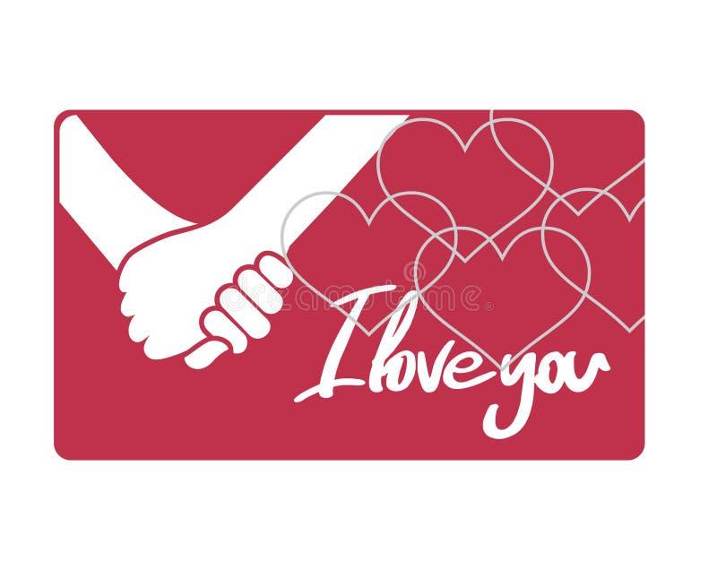 Mains dans l'amour et je t'aime le message illustration de vecteur