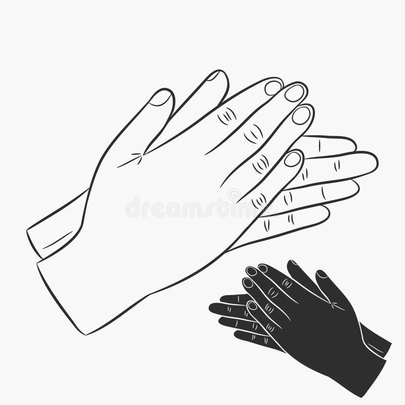 Mains de applaudissement Icônes d'applaudissements réglées Vecteur illustration de vecteur