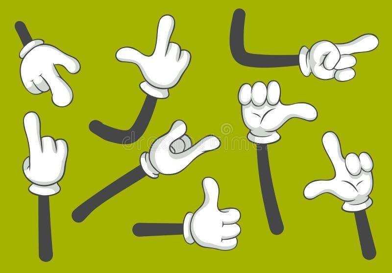 Mains de bande dessinée Mains enfilées de gants Ensemble d'illustration d'isolement par vecteur illustration de vecteur