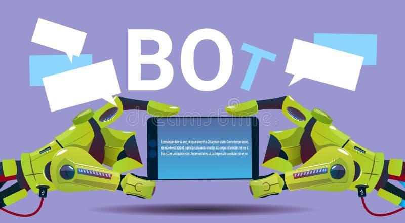 Mains de Bot de causerie utilisant le téléphone intelligent de cellules, l'aide virtuelle de robot du site Web ou les application illustration stock
