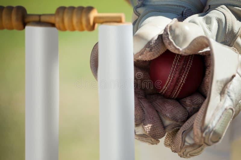 Mains de boule contagieuse de wicketkeeper derrière des tronçons photos stock