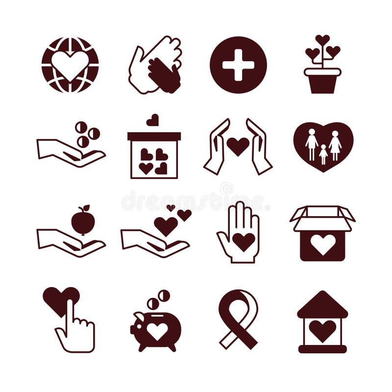 Mains de charité, soin et protection, service collectant des fonds, donation, organisation à but non lucratif, icônes de vecteur  illustration de vecteur