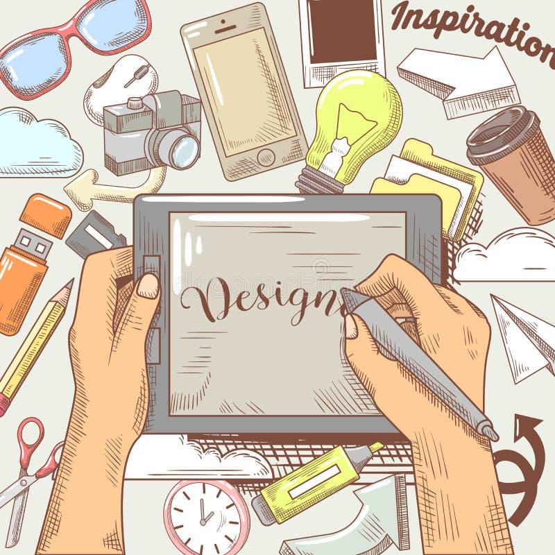 Mains de concepteur avec le stylet et la Tablette Concept tiré par la main de créativité illustration stock