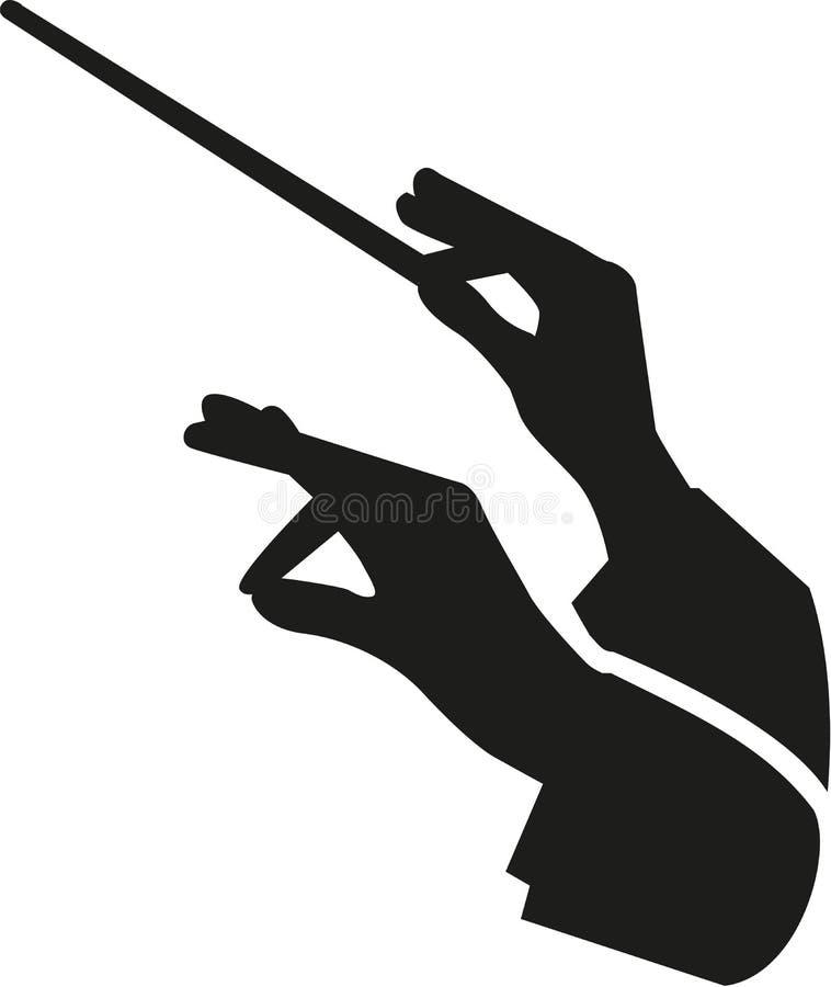 Mains de conducteur avec le bâton illustration de vecteur