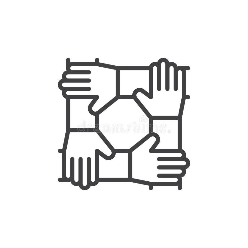 Mains de coopération, ligne icône, signe de vecteur d'ensemble, pictogramme linéaire de travail d'équipe de style d'isolement sur illustration libre de droits
