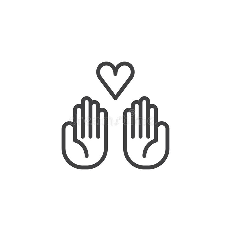 Mains de donation avec le vecteur d'icône de coeur illustration stock