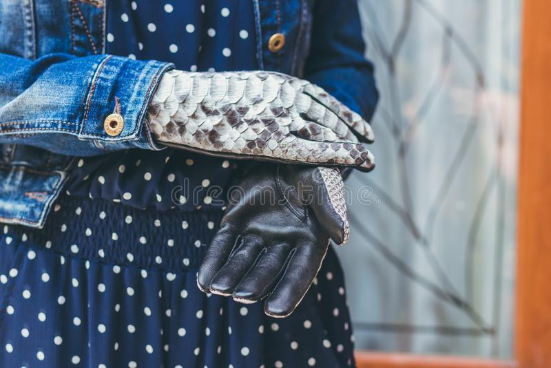 Mains de femme avec les gants à la mode noirs et blancs de python de peau de serpent outdoors photos stock