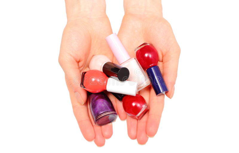 Download Mains De Femme Et De Vernis à Ongles Sur Le Fond Blanc Image stock - Image du isolement, cosmetic: 45366813