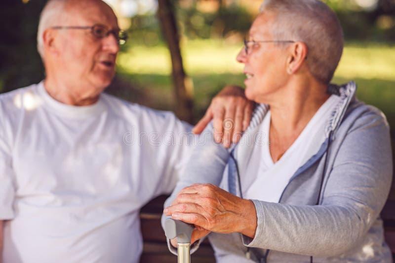 Mains de femme de retraité pendant la promenade en parc photos stock