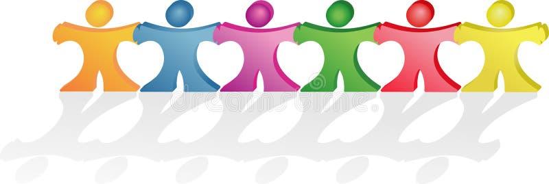 Mains de fixation de gens effectuant ensemble des formes de coeurs illustration libre de droits