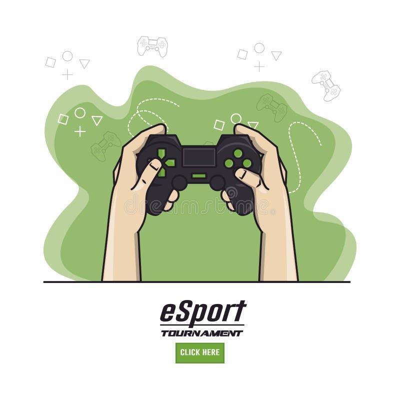 Mains de Gamer de jeux vidéo illustration de vecteur