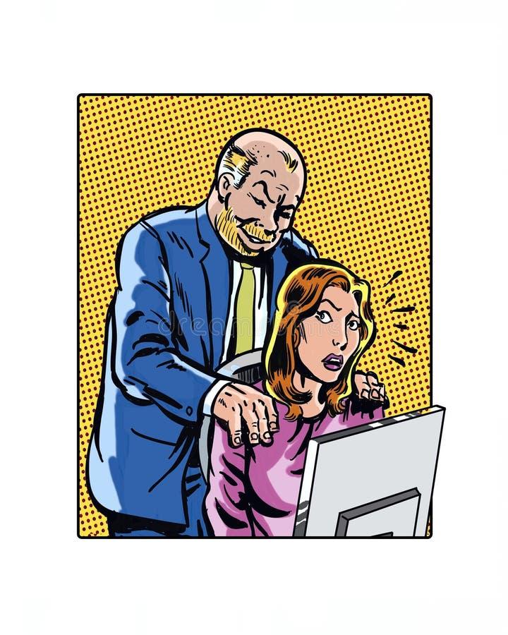 Mains de harcèlement sexuel de lieu de travail illustrées par bande dessinée illustration de vecteur