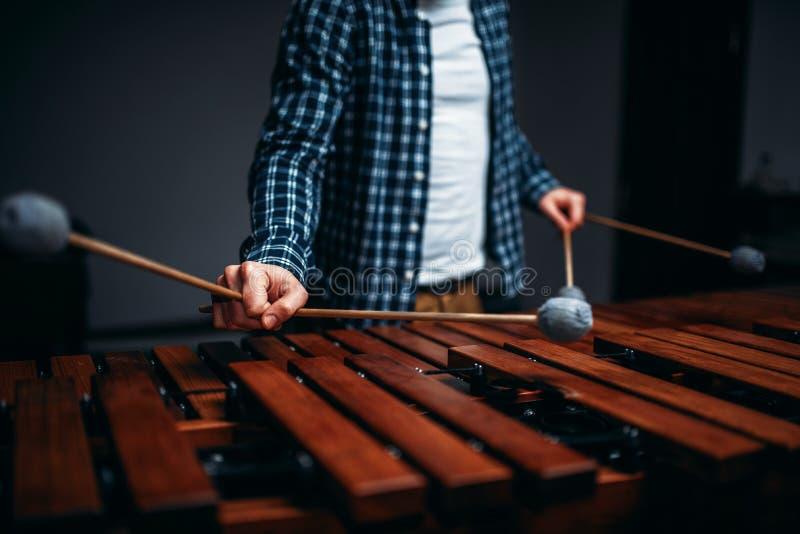 Mains de joueur de xylophone avec des bâtons, bruits en bois image libre de droits